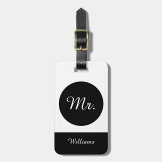 "CHIC LUGGAGE TAG_""Mr."" BLACK/WHITE Luggage Tag"
