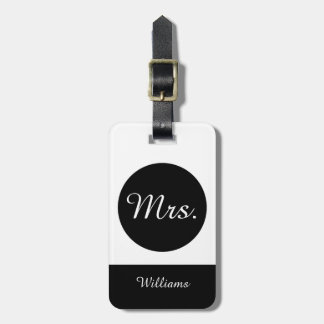 "CHIC LUGGAGE TAG_""Mrs"" BLACK/WHITE Luggage Tag"