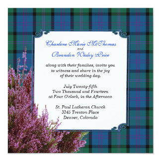 Chic MacThomas Tartan Plaid Heather Wedding 13 Cm X 13 Cm Square Invitation Card