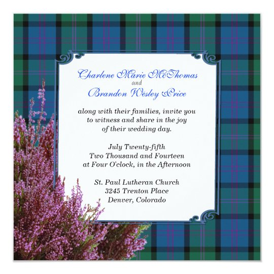 Chic MacThomas Tartan Plaid Heather Wedding Card