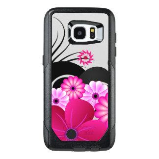 Chic Magenta Pink Fuchsia Floral Hibiscus Flowers OtterBox Samsung Galaxy S7 Edge Case