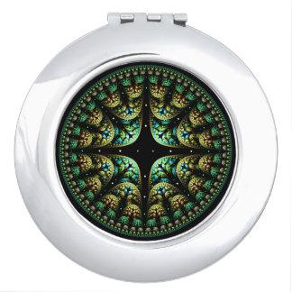 Chic Mandala Elegant Gold and Green Fractal Art Mirrors For Makeup