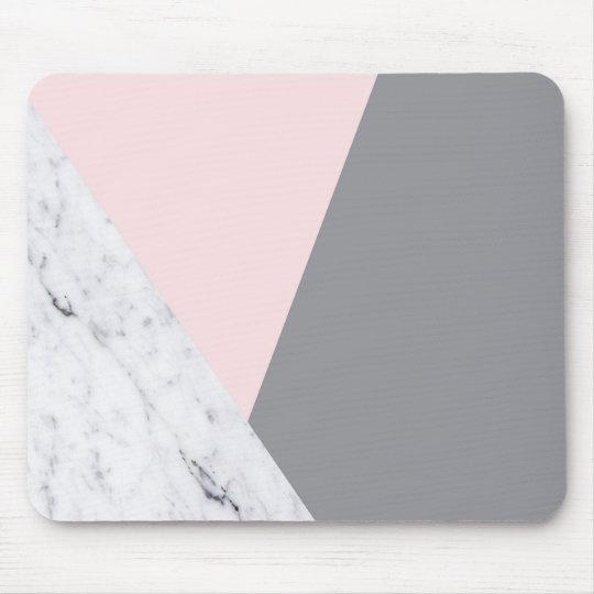 Chic Marble Pink Grey Abstract Mousepad