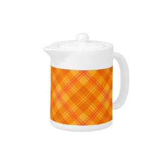 Chic Marigold Medley Orange Plaid China Teapot