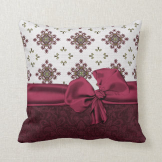Chic Maroon Damask Pillow