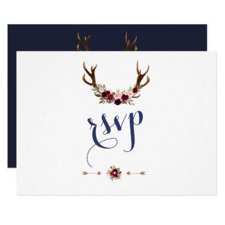 Chic Marsala Floral Antlers Navy Blue Wedding RSVP Card