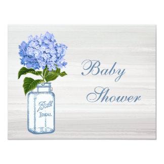 Chic Mason Jar & Blue Hydrangea Baby Shower Card