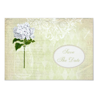 Chic Mason Jar & Hydrangea Save the Date Announcements
