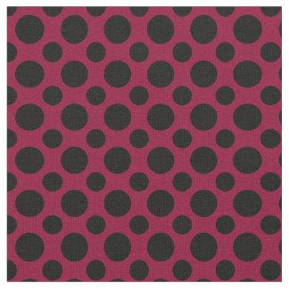 Chic Merlot / Burgundy Black Polka Dots Fabric