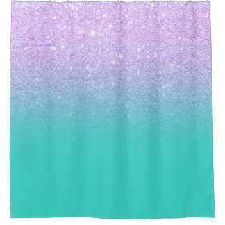 Chic mermaid lavender glitter turquoise ombre shower curtain