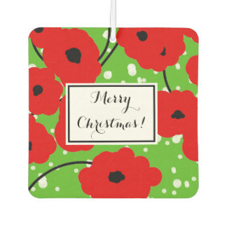 """CHIC """"MERRY CHRISTMAS"""" RED POPPIES CAR AIR FRESHENER"""