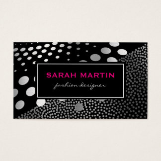 Chic Metallic Dots Pattern Black Label Business Card