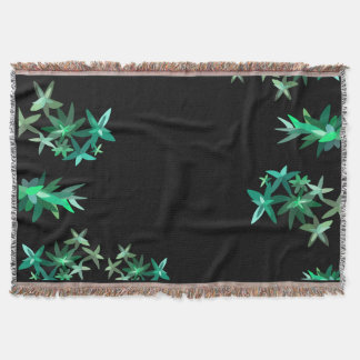 Chic Minimalistic Black and Green Foliage Print Throw Blanket