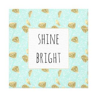 Chic Mint and Gold Diamond Shine Bright Canvas Print