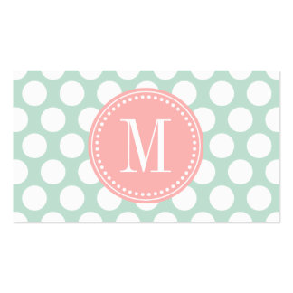 Chic Mint & Blush Pink Big Dots Monogrammed Business Card