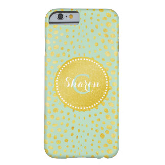 Chic mint faux gold glitter cheetah print monogram barely there iPhone 6 case