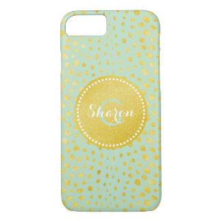Chic mint faux gold glitter cheetah print monogram iPhone 8/7 case