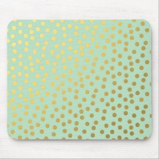 Chic Mint Gold Confetti Dots Mouse Mat