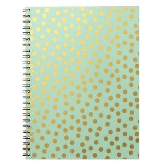 Chic Mint Gold Confetti Dots Notebooks