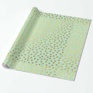 Chic Mint Gold Confetti Dots Wrapping Paper