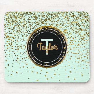 Chic Mint Gold Glam Confetti Dots | Monogram Mouse Mat
