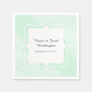 Chic Mint Green and White Floral Wedding Napkin Disposable Napkin