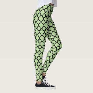 Chic Mint Green or Custom Color Quatrefoil Pattern Leggings