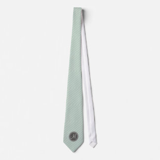 CHIC MINT GREEN STRIPES AND MONOGRAM TIE
