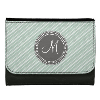 CHIC MINT GREEN STRIPES AND MONOGRAM WALLET