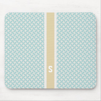 Chic mint herringbone geometric patterns monogram mousepads