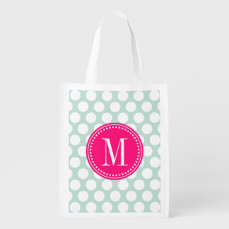 Chic Mint & Hot Pink Big Dots Monogrammed Reusable Grocery Bag