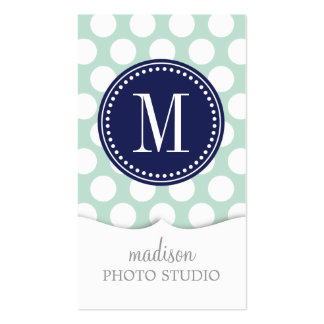 Chic Mint & Navy Big Dots Monogrammed Business Cards