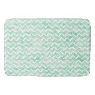 Chic Mint Watercolor Chevron Stripes Bath Mat