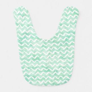 Chic Mint Watercolor Chevron Stripes Bib