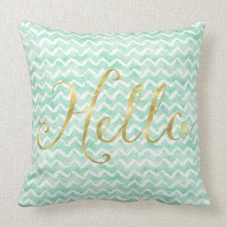 Chic Mint Watercolor Chevron Stripes Gold Hello Cushion