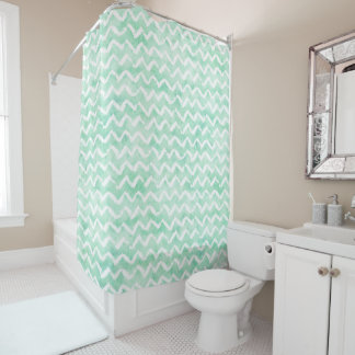 Chic Mint Watercolor Chevron Stripes Shower Curtain