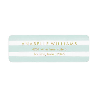 Chic Mint Watercolor Stripes Return Address Label