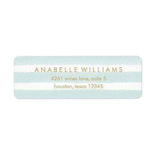 Chic Mint Watercolor Stripes Return Address Label