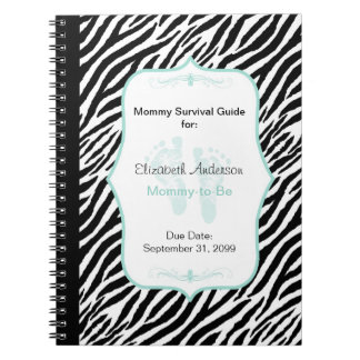 Chic Mint Zebra Mommy Advice for Mother to Be Spiral Notebook