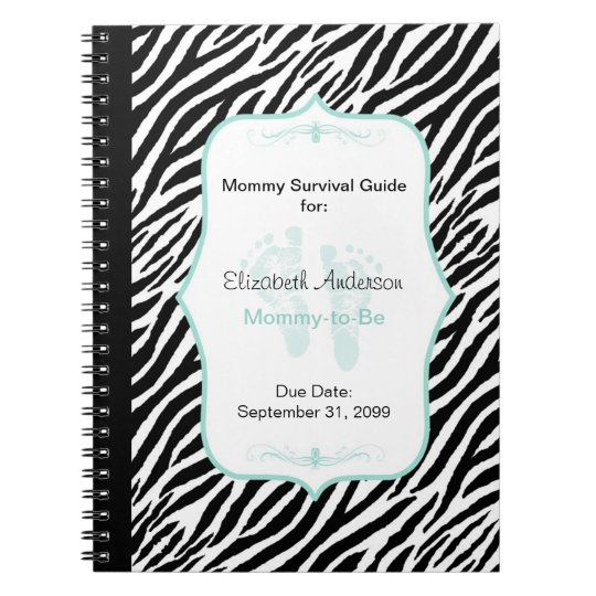 Chic Mint Zebra Mummy Advice for Mother to Be Spiral Notebook