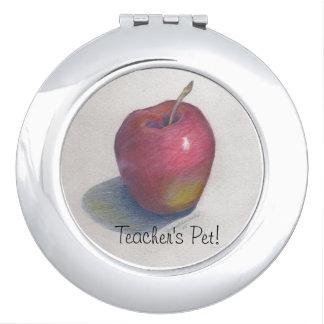 "CHIC MIRROR COMPACT_""Teacher's Pet!"" APPLE DESIGN Travel Mirror"