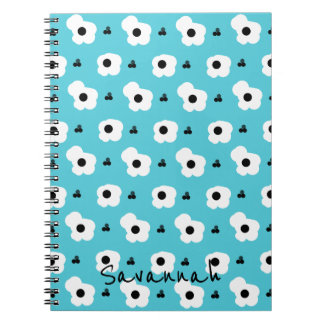 CHIC _MOD WHITE AND BLACK FLORAL ON AQUA NOTEBOOK