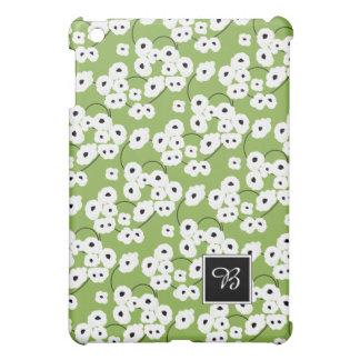 CHIC MOD WHITE & BLACK POPPIES ON GREEERY iPad MINI COVERS