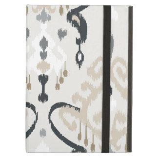 Chic modern beige black white ikat tribal pattern iPad air covers