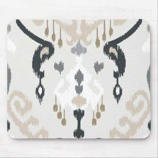 Chic modern beige black white ikat tribal pattern mouse mat