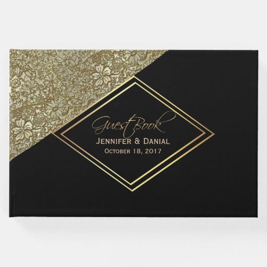 Chic Modern Black and Gold Wedding Guest Book