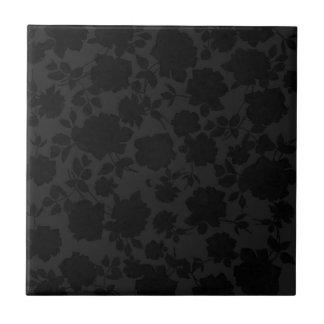 Chic Modern Black Trendy Vintage Floral Pattern Tile