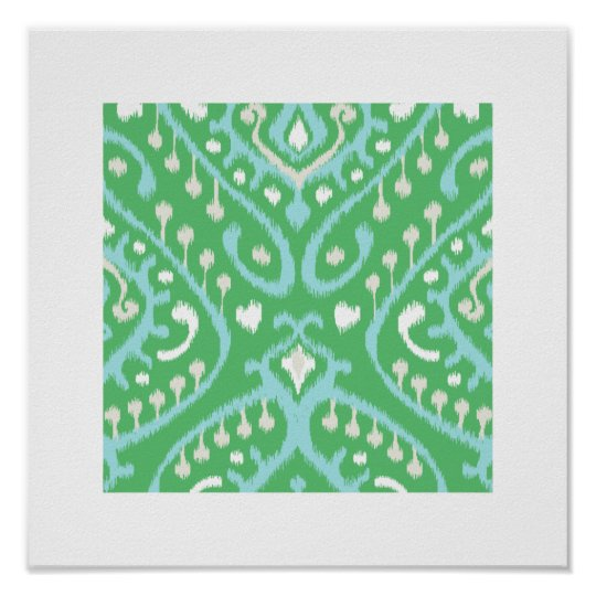 chic modern blue green ikat pattern tribal print