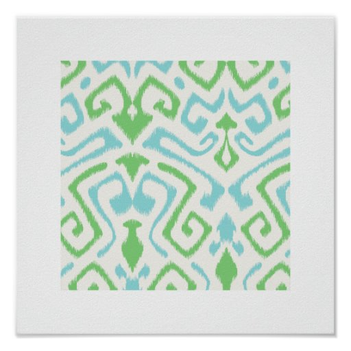 chic modern blue green ikat pattern tribal print | Zazzle