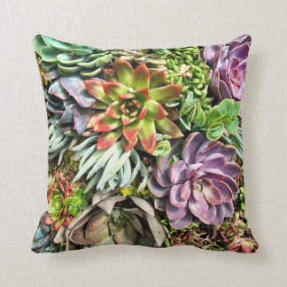 Chic Modern Colorful Succulent photo pattern Cushion